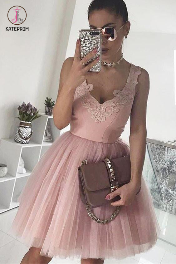 A-Line V-Neck Blush Pink Sleeveless Homecoming Dress,Appliqued Short Tulle Prom Dress KPH0180