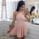Elegant A Line Satin Mini Homecoming Dress,Cocktail Dresses Short Ruched Prom Dress KPH0185