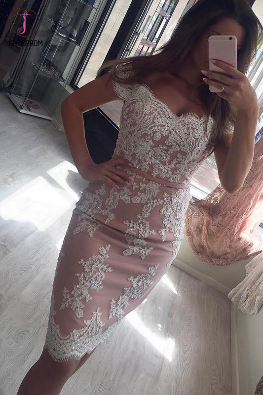 Blush Pink Cocktail Dress,Sheath Lace Appliques Off Shoulder Homecoming Dress Party Gown KPH0186