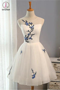 New Arrival Embroidery Flowers Sleeveless Short Tulle Homecoming Dress,Short Prom Dress KPH0188