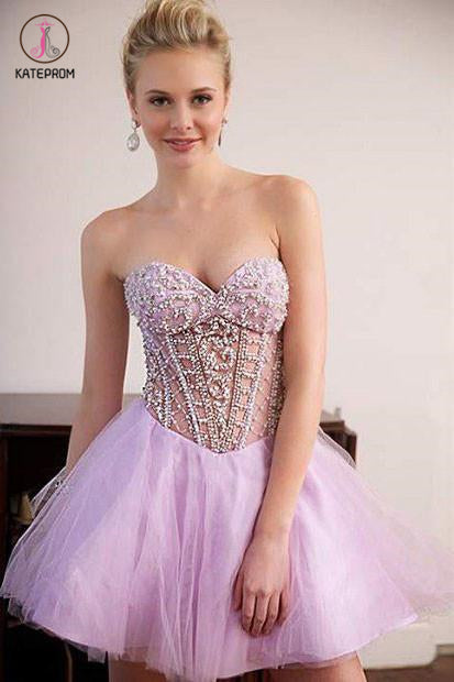 Strapless Beading Tulle Mini Homecoming Dress,Sexy Sweetheart Graduation Dress,Party Dress KPH0190