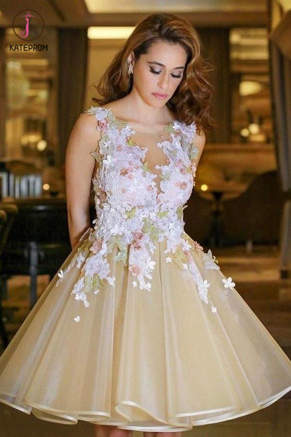 A-line V neck Backless Homecoming Dress with Flowers,Appliqued Sleeveless Junior Dresses KPH0191