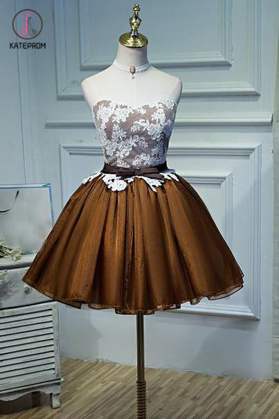 Strapless Tulle Homecoming Dress Lace Appliqued Bowknot Short Prom Dress Party Dress KPH0204