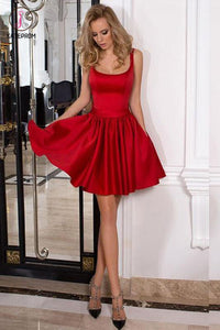 A-line Straps Mini Backless Satin Homecoming dress,Red Sleeveless Short Prom Dress with Bowknot KPH0206