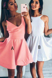 A Line Homecoming Dress V-neck Sleeveless Short Prom Dress Party Dress,Mini Dress KPH0207