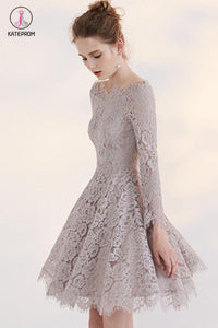 Temperament Long Sleeve Off-shoulder Lace Homecoming Dress,Short Prom Gown KPH0213
