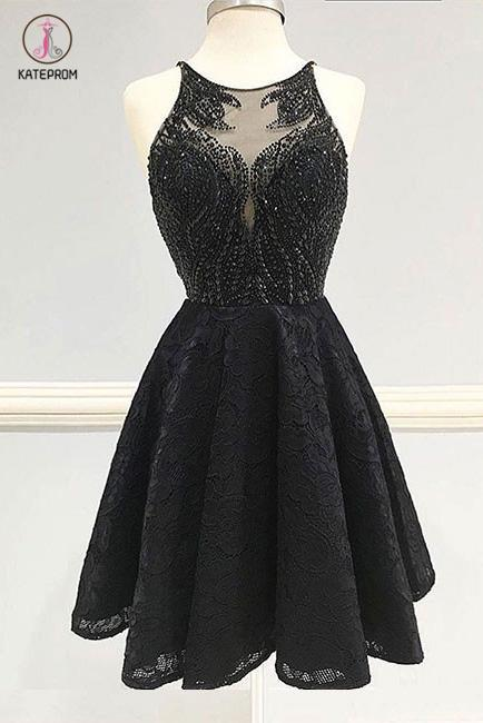 Fashion A-Line Black Lace Short Homecoming Dress,Backless Lace Beading Prom Dresses KPH0215