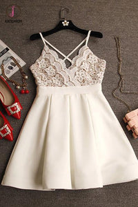 Spaghetti Straps Ivory V-neck Lace Top Satin Homecoming Dresses,Mini Cheap Prom Dress KPH0216