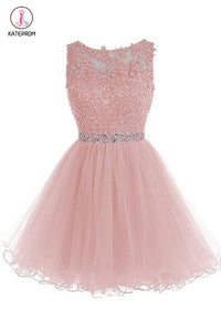 Appliqued Sleeveless Homecoming Dress with Beads,Tulle Homecoming Gown,Short Prom Gown KPH0217