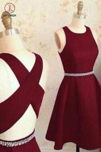 Burgundy Cute Short Prom Dresses,Sleeveless Satin Homecoming Dress,Party Dress with Beads KPH0218