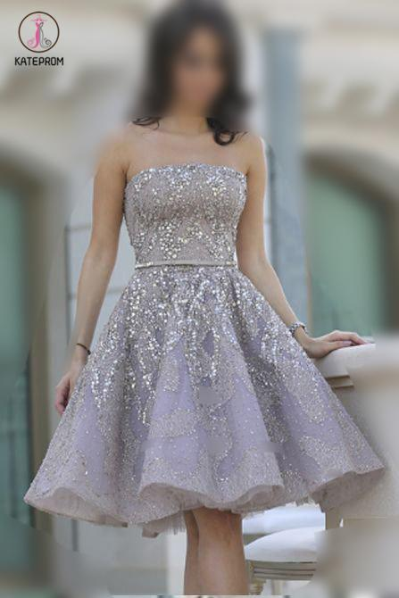 Strapless Gorgeous A-line Homecoming Gown with Belt,Sparkle Short Prom Gown KPH0220