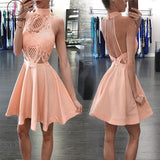 Unique Style Peach High Neck Sleeveless Backless Homecoming Dress,Cheap Prom Dress KPH0221