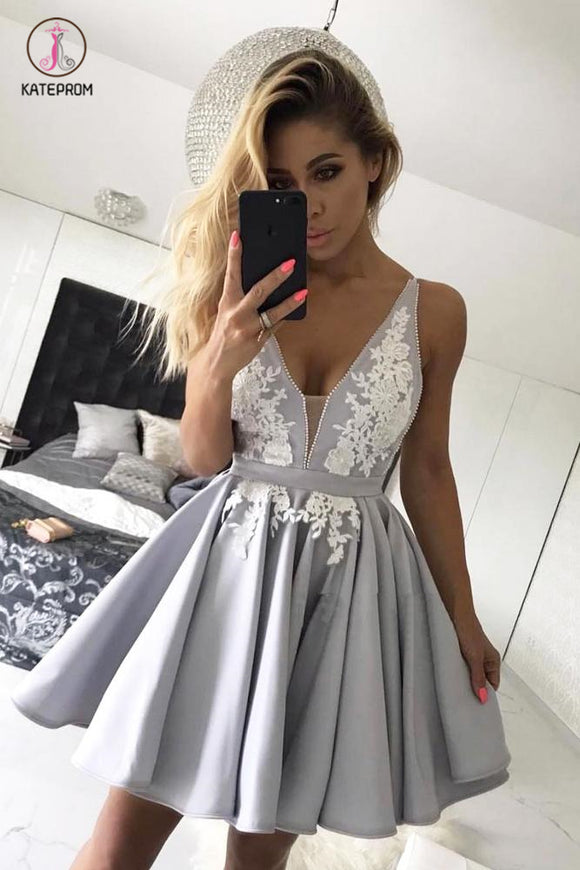Appliques Deep V Neck Short Prom Dress,Sleeveless Pleats Cheap Homecoming Dress KPH0224