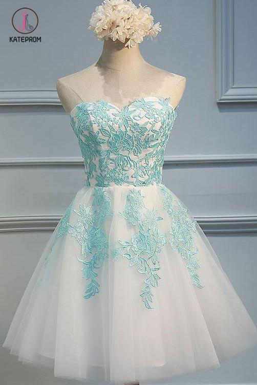 Ivory Sweetheart Homecoming Dress with Mint Appliques, Strapless Tulle Short Party Dress KPH0226