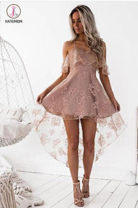 Blush Straps Fashion A-Line Lace Off-Shoulder High Low Short Homecoming Dress,Party Dress KPH0227