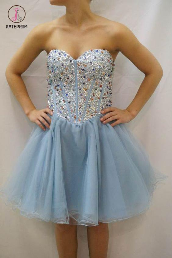 Sky Blue Strapless Homecoming Dress with Beads,Sweetheart Tulle Prom Dress with Sequins KPH0230