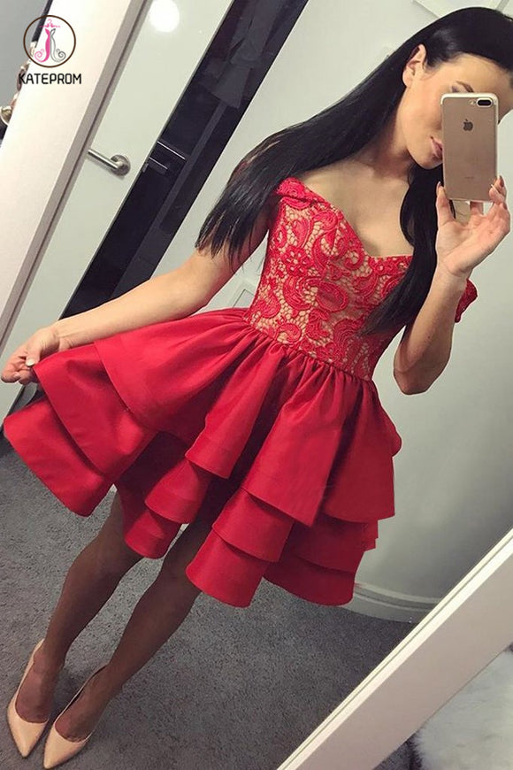 Sexy A-Line Off-The-Shoulder Red Tiered Homecoming Dress With Lace,Short Prom Dress KPH0223