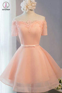 Pastel Orange Appliqued Tulle Off-shoulder Homecoming Dresses,Short Party Dress KPH0235