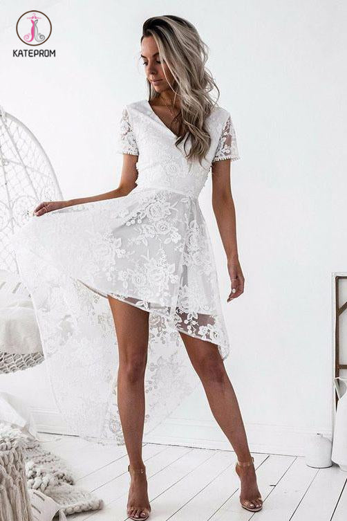 White High-low Short Sleeve V-neck Lace Homecoming Dress,Backless Party Gown KPH0232