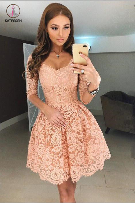 Sexy A-Line Half Sleeves Short Apricot Lace Homecoming Dress,Lace Graduation Dress KPH0237