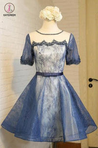A-Line Crew Knee-Length Short Sleeves Lace Homecoming Dress,Fashion Graduation Dress KPH0250