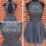 A-line Dark Gray Jewel Sleeveless Beaded Backless Tulle Homecoming Dress,Short Party Dress KPH0251