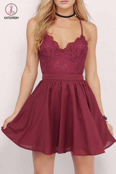 Spaghetti Straps Chiffon Short Homecoming Dress with Lace Top,Mini Grad Dress KPH0254