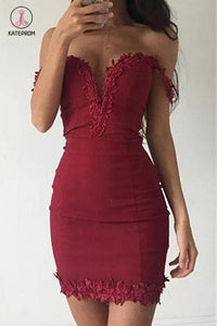 Sheath Burgundy Deep V-neck Off-the-shoulder Homecoming Dresses,Tight Prom Dress KPH0262