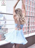 A-Line Halter Criss-Cross Straps Blue Chiffon Homecoming Dress with Pleats,Short Blue Dress KPH0256