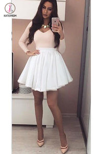 Pink Long Sleeves V-neck Homecoming Dress with White Skirt,Mini Grad Dresses KPH0257