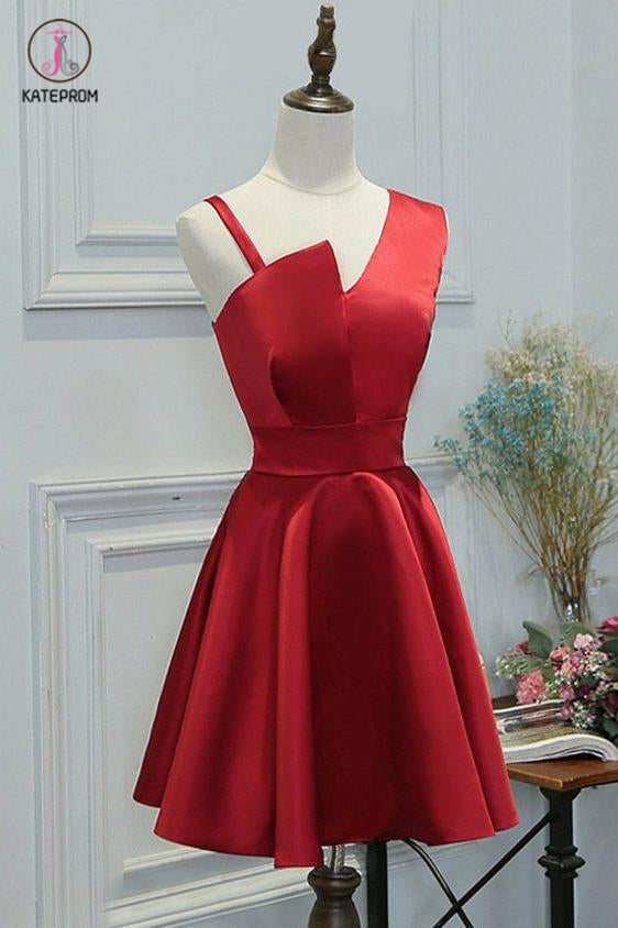 Simple A-line Red Sleeveless Short Homecoming Dresses,Short Prom Dresses,Party Dresses KPH0259
