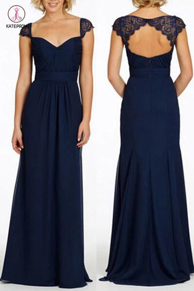 Navy Blue Long Open Back Cap Sleeve Chiffon Bridesmaid Dress KPB0032