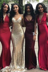 Sexy Affordable V-neck Unique Custom Mismatched Mermaid Long Bridesmaid Dresses KPB0070