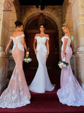 Blush Mermaid Off-the-Shoulder Sweep Train Stretch Long Bridesmaid Dress with Lace KPB0078