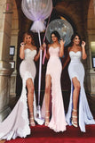 Mermaid Sweetheart Lace Applique Long Bridesmaid Dress with Slit Prom Gown KPB0080