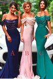 Royal Blue Mermaid Off the Shoulder Sequin Long Prom Dress Sexy Bridesmaid Dress KPB0082