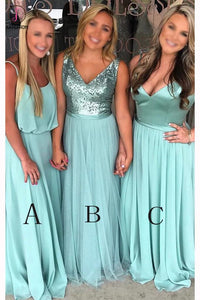 Turquoise A-line Floor-length V-neck Sleeveless Bridesmaid Dress Waterfall Party Gown KPB0083