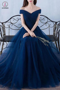 A-line Navy Blue off-the-Shoulder Long Prom Dresses,Tulle Evening Dress KPB0035