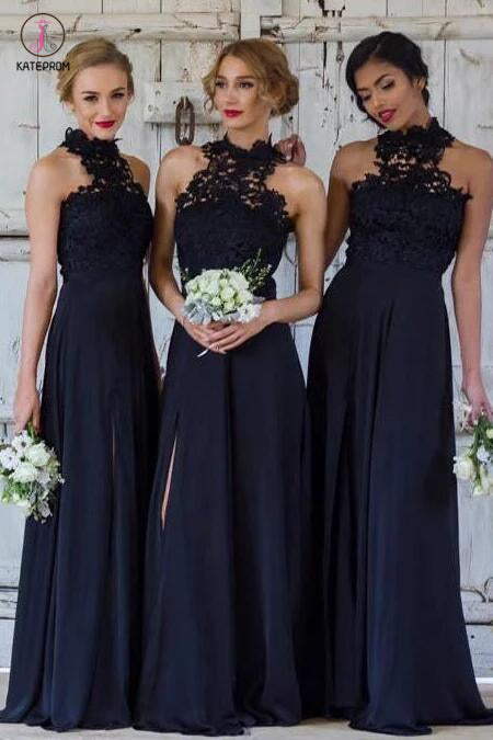 A-line Navy Blue High Neck Sleeveless Split Long Bridesmaid Dresses with Lace KPB0086