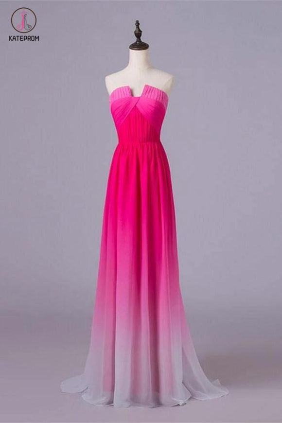A-line Ombre Notched Cheap Gradient Hot Pink Chiffon Prom Dresses For Teens KPP0207