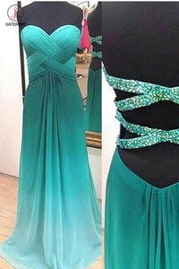 Green Ombre A-line Chiffon Sweetheart Prom Dress with Beading,Evening Gown KPP0208