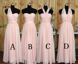 Convertible Blush Bridesmaid dress,One Shoulder Wedding Party dress,Sweetheart Prom Dress KPB0038