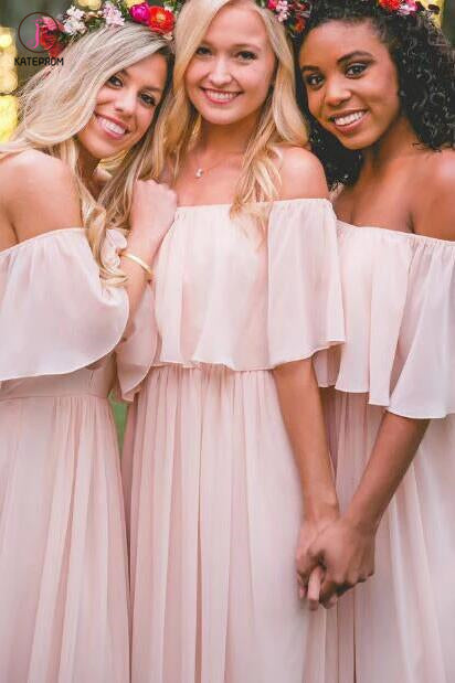 Off-the-shoulder Pastel Pink Ruffles Long Chiffon Bridesmaid Gowns,Floor-length Prom Dresses KPB0039
