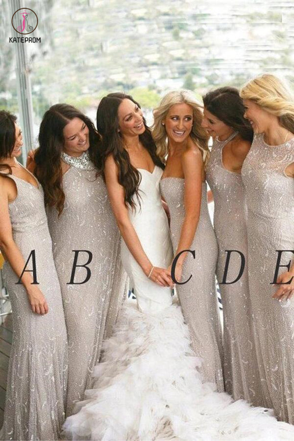 Light Gray New Arrival Bridesmaid Dress,Mermaid Bridesmaid Gowns,Sleeveless Wedding Party Dress KPB0040