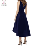 Elegant Midi Bridesmaid Dress,V-neck A-line Bridesmaid Gown,Navy Blue High Low Bridesmaid Dress KPB0042