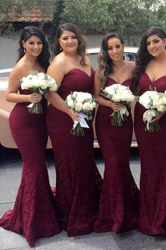 Burgundy Sweetheart Mermaid Sweep Train Lace Bridesmaid Dress,Strapless Long Lace Prom Dresses KPB0044