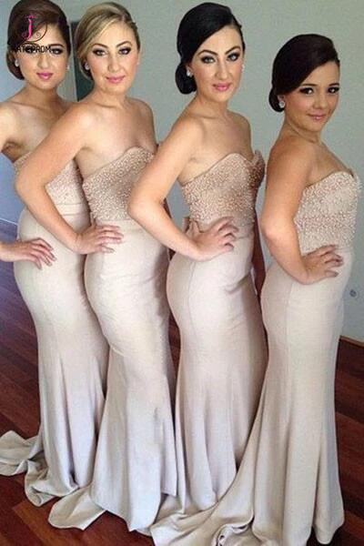 Strapless Bridesmaid Dress,Long Beaded Sweetheart Bridesmaid Dresses,Sexy Prom Dress KPB0045