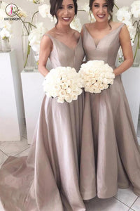 A-line V-neck Backless Sleeveless Taffeta Straps Sweep Train Bridesmaid Dress With Pleats KPB0046