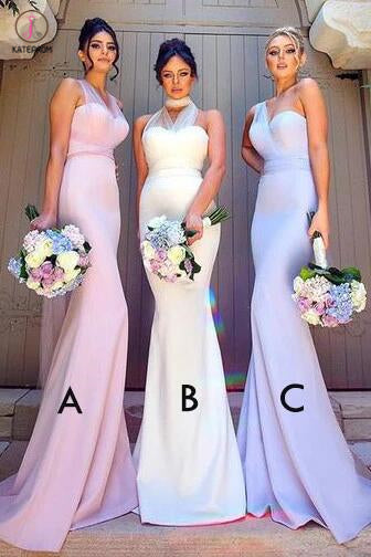 Elegant Mermaid Long Convertible Bridesmaid Dress,Long Bridesmaid Dresses with Sash KPB0047