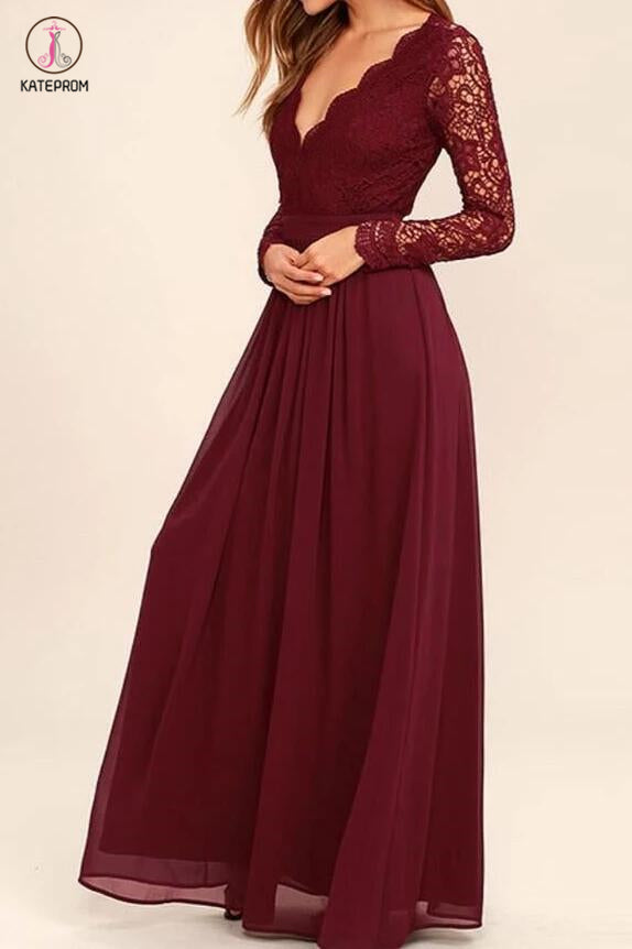 Burgundy Long Sleeve V-neck Backless Lace Top Chiffon Long Bridesmaid Dress,Prom Dress KPB0051